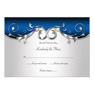 3 5x5 Elegant Blue and Silver RSVP Announcements