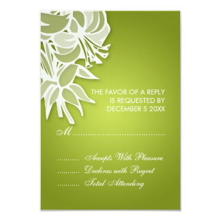 3.5x5 Lime Lily Bouquet Elegant RSVP Card