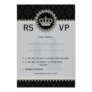 "3.5x5"" Modern Laces Crown Wedding Passport  RSVP Card"