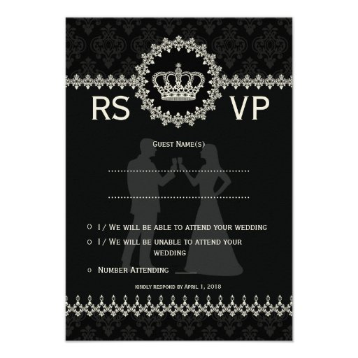 """*3.5x5"""" Modern Laces Crown Wedding Passport  RSVP Personalized Invitations"""