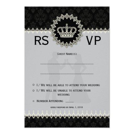 "*3.5x5"" Modern Laces Crown Wedding Passport  RSVP Announcement"
