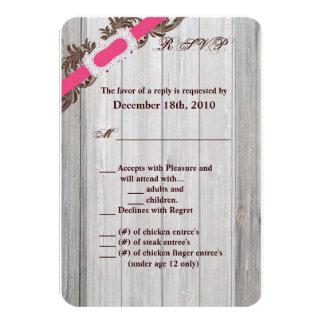 3.5x5 R.S.V.P. Card Barn Wood Diamond Ribbon Band 9 Cm X 13 Cm Invitation Card
