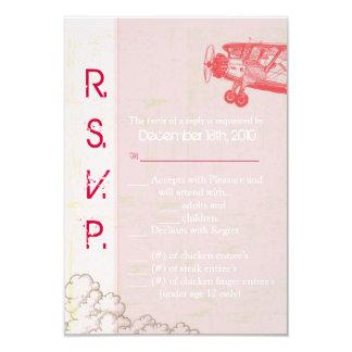 3.5x5 R.S.V.P. Card Vintage Airplane in Clouds 9 Cm X 13 Cm Invitation Card