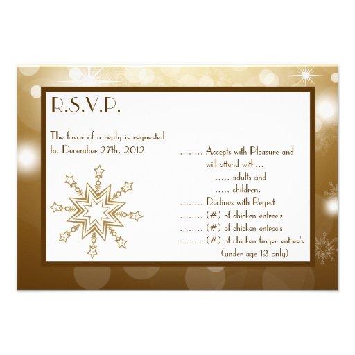 3.5x5 R.S.V.P Reply Card Christmas Copper Blur Custom Invite