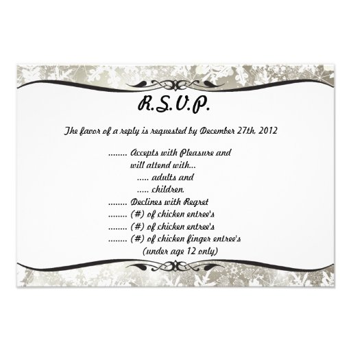3.5x5 R.S.V.P Reply Card Silver Christmas Blur Custom Invitation