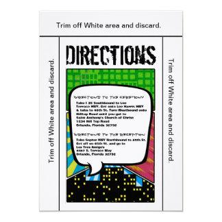 3.5x6 Directions Card Comic Strip Book Pop Art Cou 13 Cm X 18 Cm Invitation Card