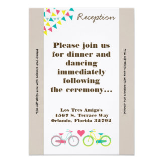 3.5x7 Reception Card Lovers Bike Bicycl 13 Cm X 18 Cm Invitation Card