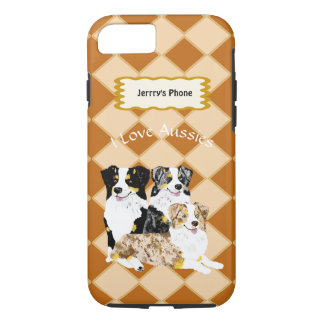 3 Australian Shepherd Dogs on Argyle add name iPhone 8/7 Case
