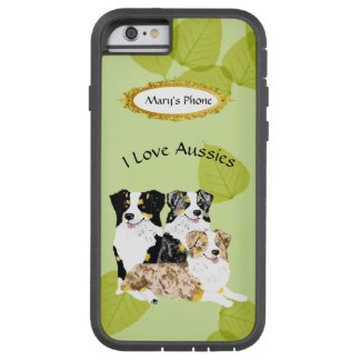 3 Australian Shepherd Dogs on Green Leaves Tough Xtreme iPhone 6 Case