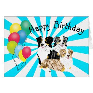 3 Australian Shepherds Happy Birthday Card