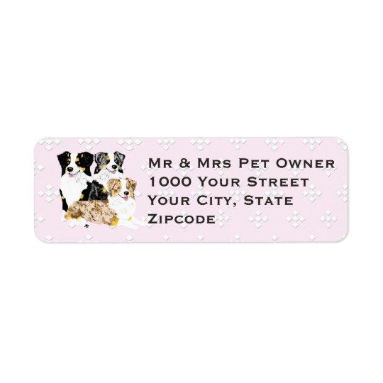 3 Australian Shepherds on Pink w/white diamonds Return Address Label