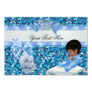 3 Baby Shower Boy Blue Little Prince Bunnies Card
