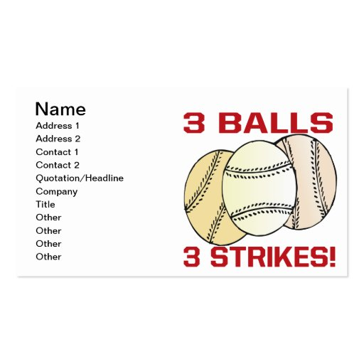 3 Balls 3 Strikes Business Cards