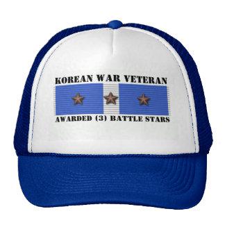 3 BATTLE STARS KOREAN WAR VETERAN TRUCKER HAT