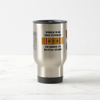 3 BATTLE STARS / WORLD WAR II VETERAN COFFEE MUG