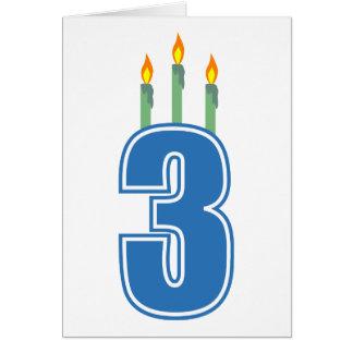 3 Birthday Candles (Blue / Green) Card