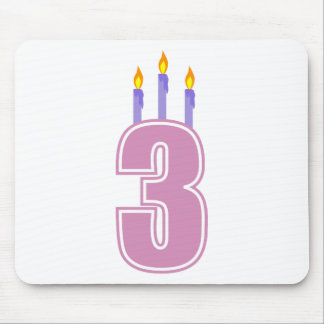 3 Birthday Candles (Pink / Purple) Mouse Pad