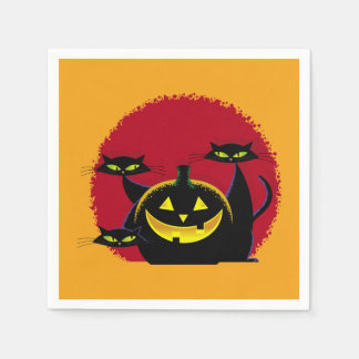 3 Black Cats Halloween Party Paper Napkins