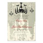 3 Black Chandeliers Love Birds Wedding Invitation