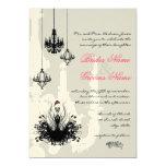 3 Black Chandeliers Pink Accent Wedding Invitation