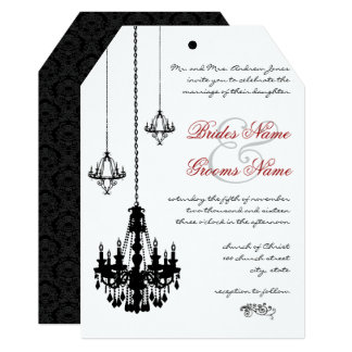 3 Black Chandeliers Red Accents Wedding Invitation