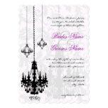 3 Black Chandeliers Shadow Damask Wedding Invites