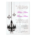 3 Black Chandeliers Shadows Wedding Invitations
