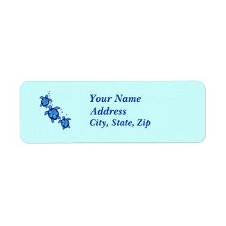 3 Blue Honu Turtles Return Address Label