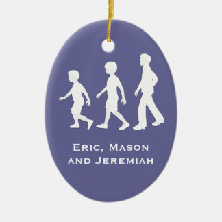 3 Brothers: Paper Cut-Out Style Boys Ceramic Oval Decoration