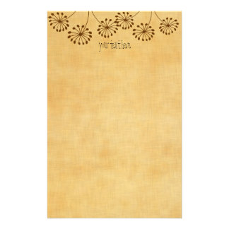 3 Brown Flowers Personalized Stationery