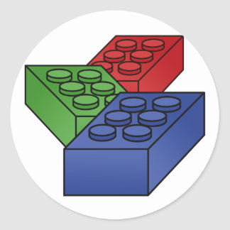 3 Building Blocks Classic Round Sticker