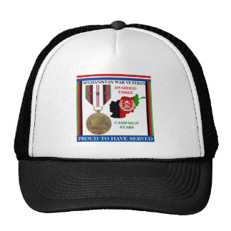 3 CAMPAIGN STARS AFGHANISTAN WAR VETERAN HATS