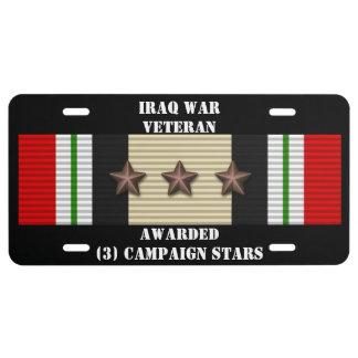 3 CAMPAIGN STARS IRAQ WAR VETERAN LICENSE PLATE