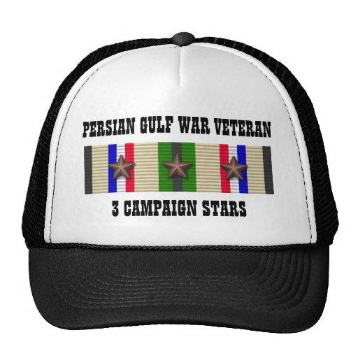 3 CAMPAIGN STARS / PERSIAN GULF WAR VETERAN TRUCKER HAT