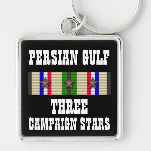 3 CAMPAIGN STARS / PERSIAN GULF WAR VETERAN KEY CHAINS