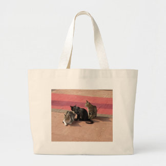 3 Cats looking pensive Large Tote Bag