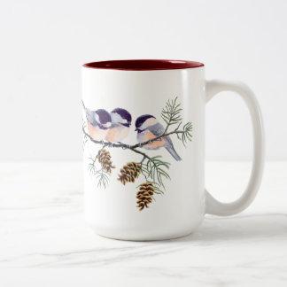 3 CHICKADEES & CONES by SHARON SHARPE Two-Tone Coffee Mug