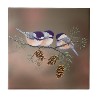 3 CHICKADEES & RED BERRIES by SHARON SHARPE Tile