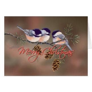 3 CHICKADEES TEXT & PINE CONES by SHARON SHARPE Greeting Card