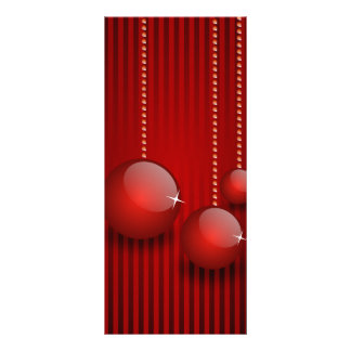 3 Christmas red baubles illustration Full Color Rack Card