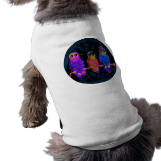 3 Colorful Owls at Night in Front of the Moon Sleeveless Dog Shirt