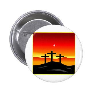 3 Crosses Sunset 6 Cm Round Badge