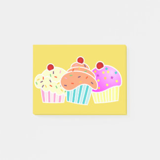 3 Cupcakes on Yellow Note