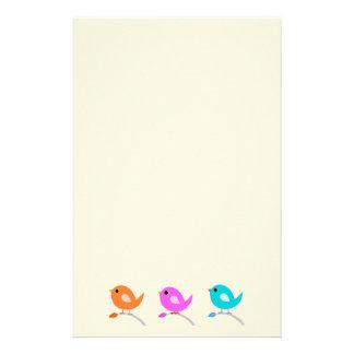3 Cute Birds Stationery Design