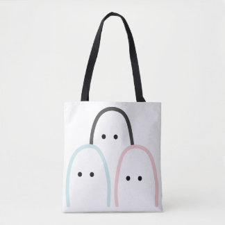 "3 cute ""finger"" figures drawing, modern pattern tote bag"