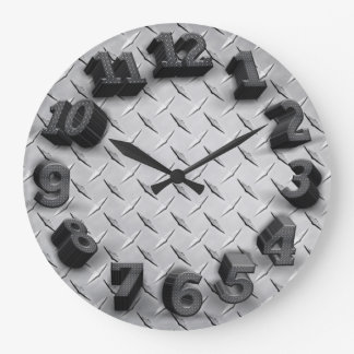 3-D Diamond Plate Round Wall Clock