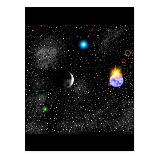 3-D Earth And Outerspace View Postcard