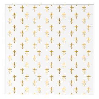 """3-D"" Look Golden Cross with Wedding Rings Acrylic Wall Art"
