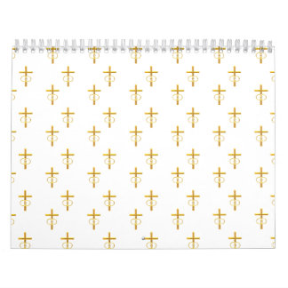 """3-D"" Look Golden Cross with Wedding Rings Calendars"