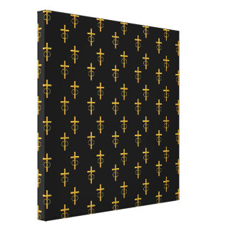 """""""3-D"""" Look Golden Cross with Wedding Rings Canvas Print"""